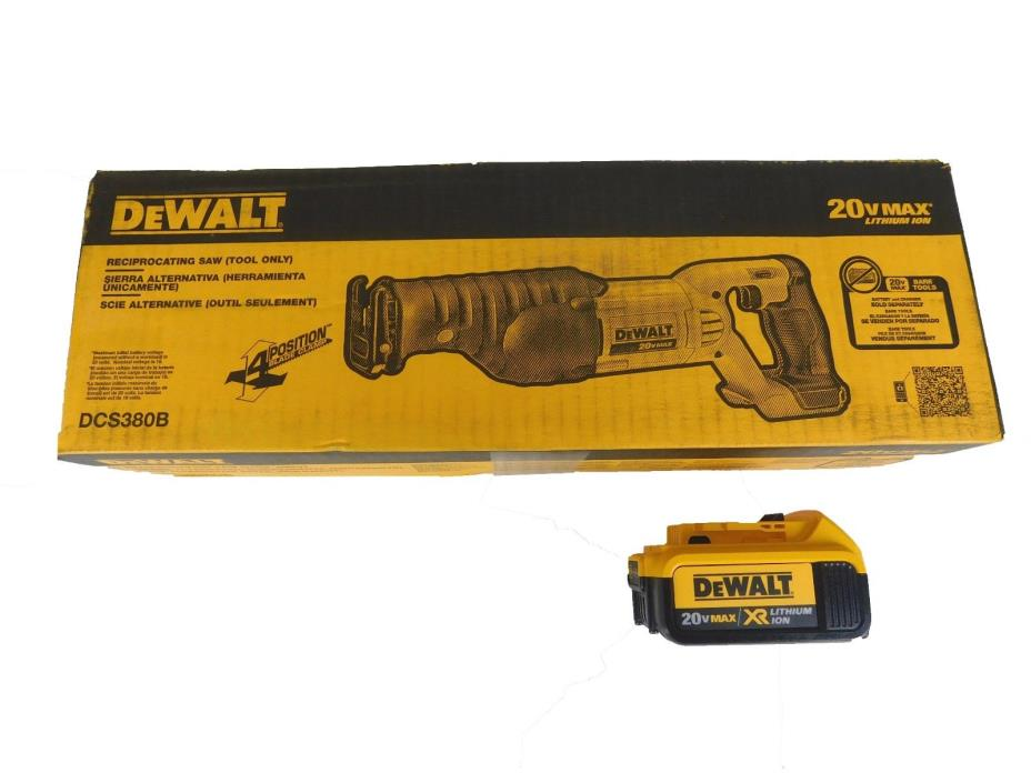 DeWalt 20-Volt Max Cordless Reciprocating Saw DCS380 & one DCB204 4.0ah battery