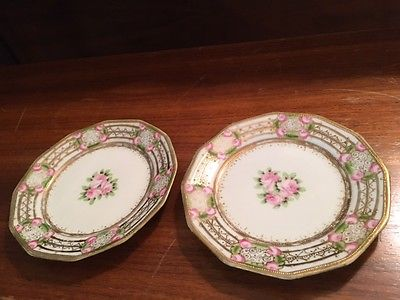 SO PRETTY ! Pink and Gold Pair of RC Nippon Hand-Painted Vintage Dessert Plates