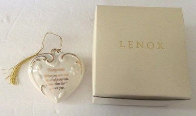 Lenox Porcelain 'Footprints' Heart Ornament