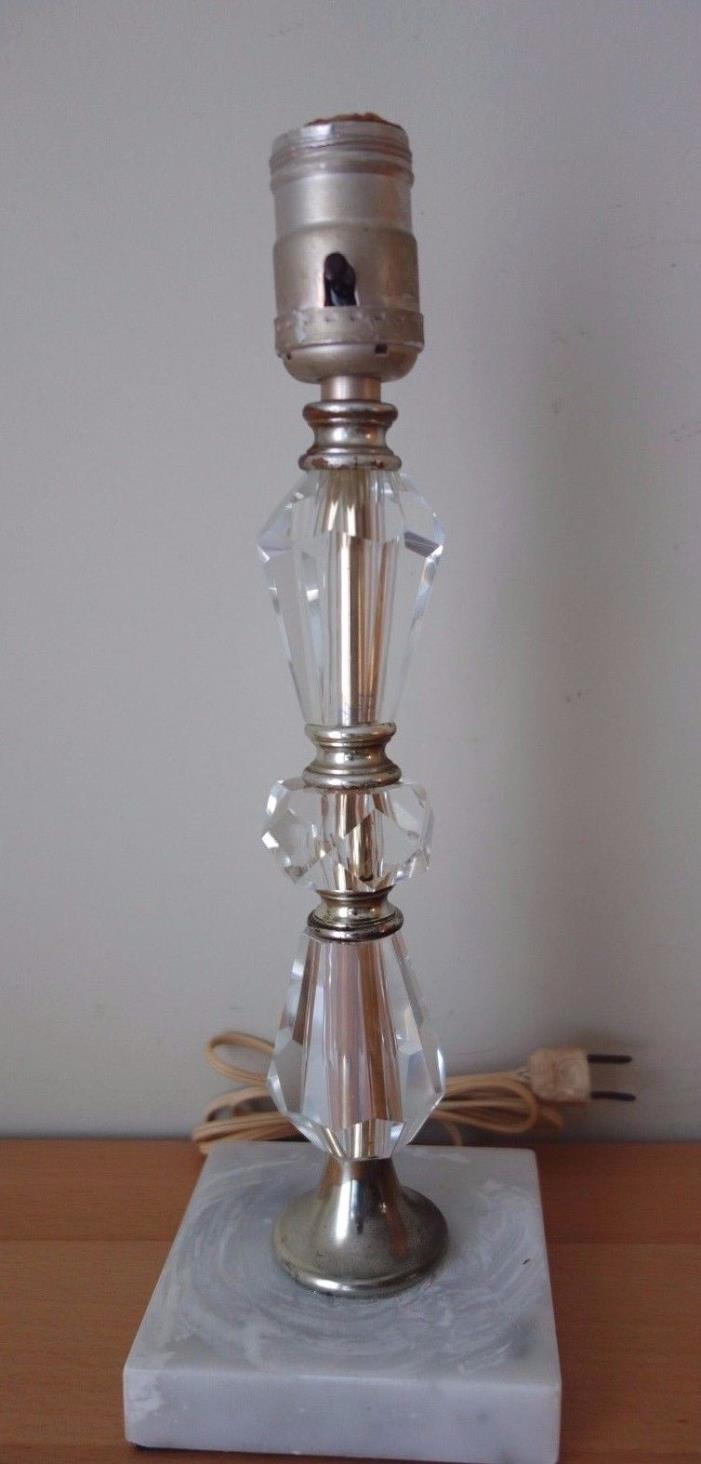 Vintage 3 Prism Clear Crystal Glass Small Petite Boudoir Table Lamp Marble Base