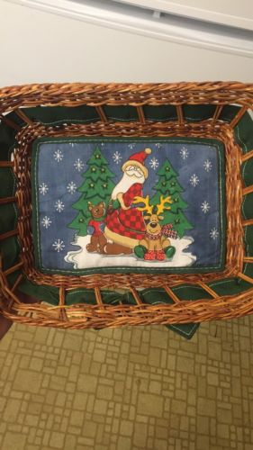 Homemade Christmas Basket Santa Claus Reindeer