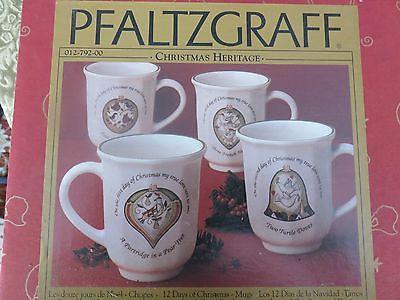 Pfaltzgraff Christmas Heritage 12 Days of Christmas Set 1  4 Mugs