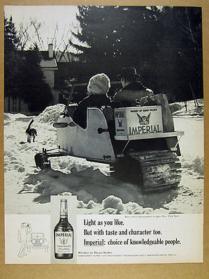 1967 single-trac snow machine snowmobile photo Imperial Whiskey vintage print Ad