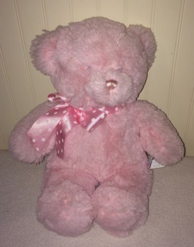 Aurora Baby Pink Plush Teddy Bear Polka Dots  Ribbon Sewn Eyes Stuffed Toy 13