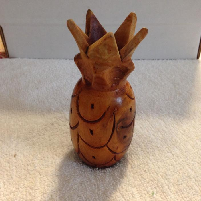 5 Inch Tall Wood Pineapple Candle Holder