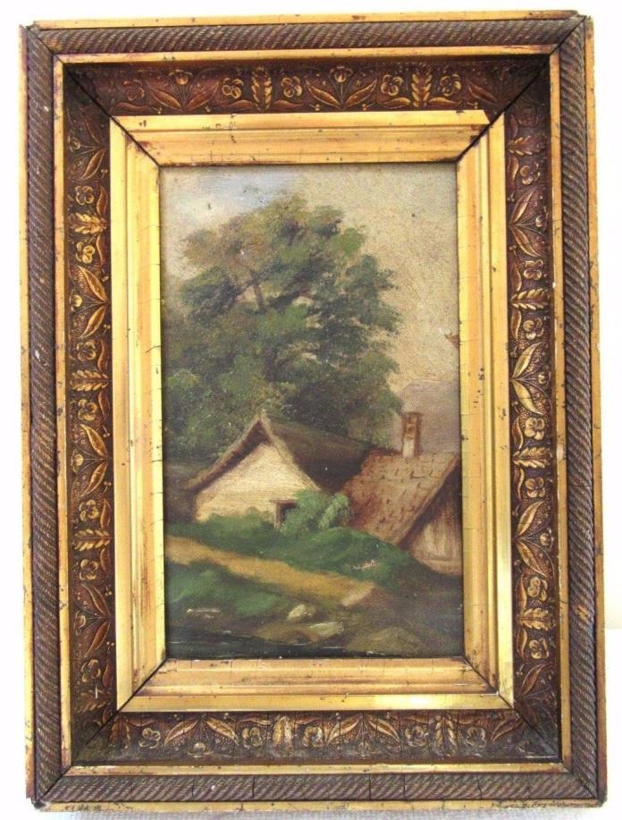 SM ANTIQUE OIL PAINTING PICTURE FRAME FITS 5X8 ORNATE FINE ART GESSO WOOD 1880