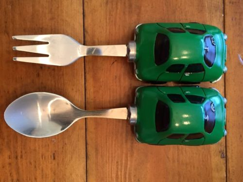 Baby Toddler Green Cars Fork Spoon Utensils Fun NWOT