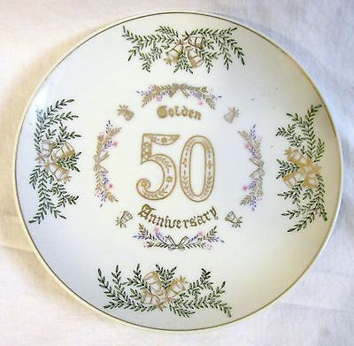VINTAGE GOLD Trimmed 50th Anniversary ENESCO Candy Dish OR PLATE Fine China