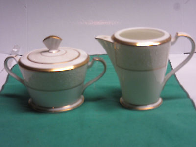 Noritake White Palace fine china 1-creamer, 1-sugar with lid all new