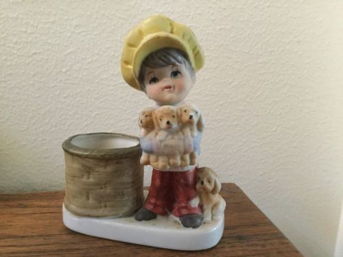 Vintage JASCO Christmas Luvkins Porcelain Candle Holder Boy With Puppies