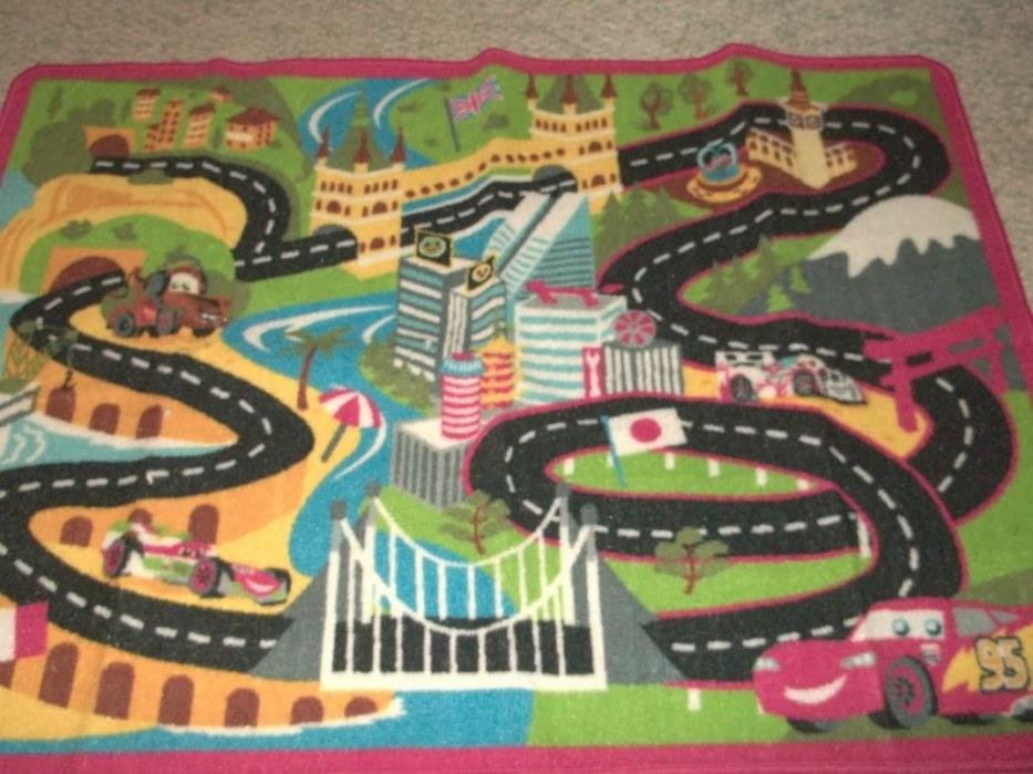 Disney Pixar Lightning McQueen Mater Racing Play Rug 30