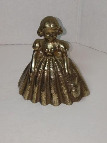 Vintage Brass Figural Girl Bell