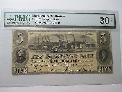 1837 $5 The Lafayette Bank-Boston Massachusetts Note PMG30