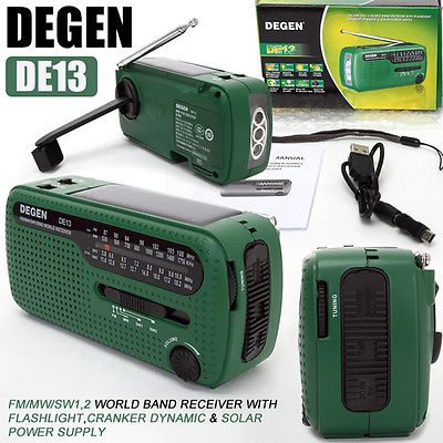 FM AM SW Crank Dynamo Solar Power Emergency Radio Global receiver Prepper
