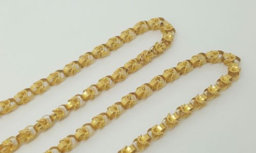 Vintage Persian Handmade 18k Solid Yellow Gold Chain Necklace 26