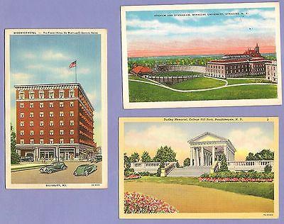 3 Linen postcards WICOMICO HOTEL, MD, SYRACUSE UNIV, NY, Dudley Memorial, NY