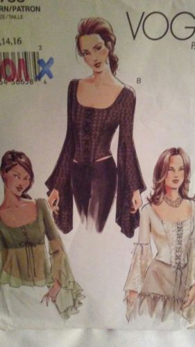 Vogue 7733 Edwardian Corset Top Butterfly Sleeves Sz 12-16 uncut pattern