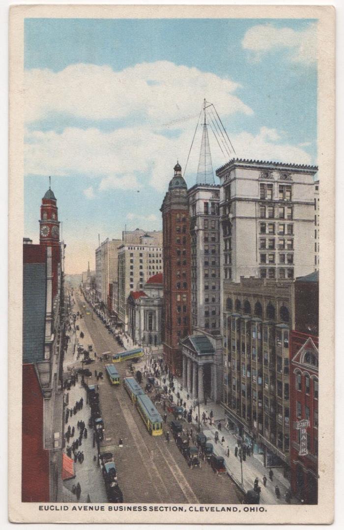 Cleveland Ohio Euclid Avenue Business District c1918 vintage postcard