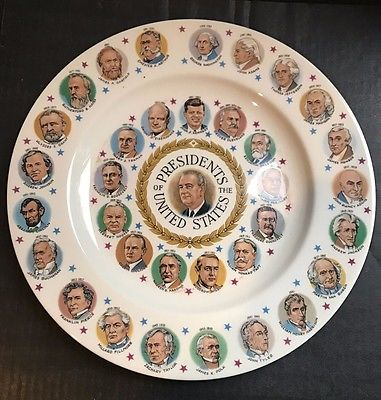 United States America Presidents Plates 1964 Up To Johnson Plate
