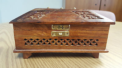 Vintage Hand Carved Floral Wood Trinket Box with Decorative Brass Insert