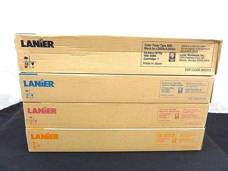 LANIER LD024c/LD032c Toner Set Type M20, Black, Cyan, Magenta, Yellow, set of 4