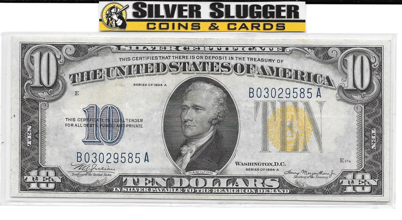 1934A US $10 Silver Certificate Excellent Condition
