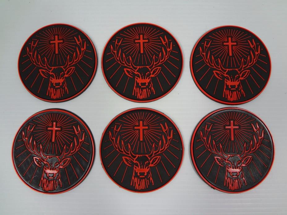 Lot of 6 Jagermeister Jager Rubber Coasters - Great Condition - Free Shipping!!!