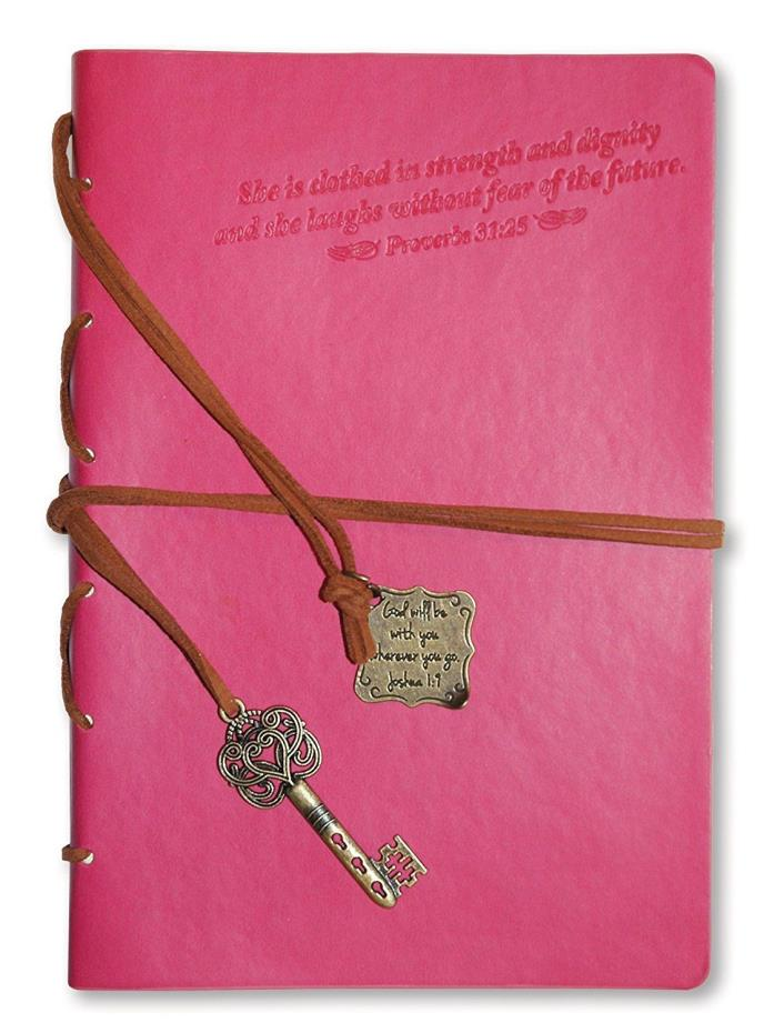 Christian Leather Journal with Pink Key Charm Diary Notebook Bookmark