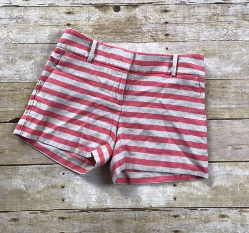 Ann Taylor Loft The Riviera Short Pink Beige Linen Striped Shorts Size 00