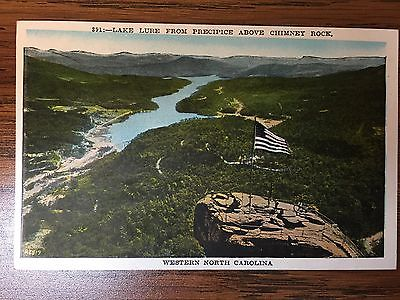 VINTAGE Postcard - Chimney Rock NC - Lake Lure from Precipice above Chimney Rock