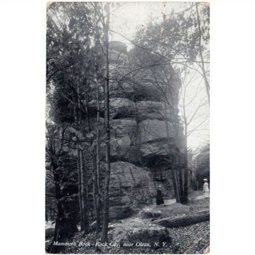 Old Vtg B&W Photo Postcard Mammoth Rock, Rock City Near Olean New York 1911