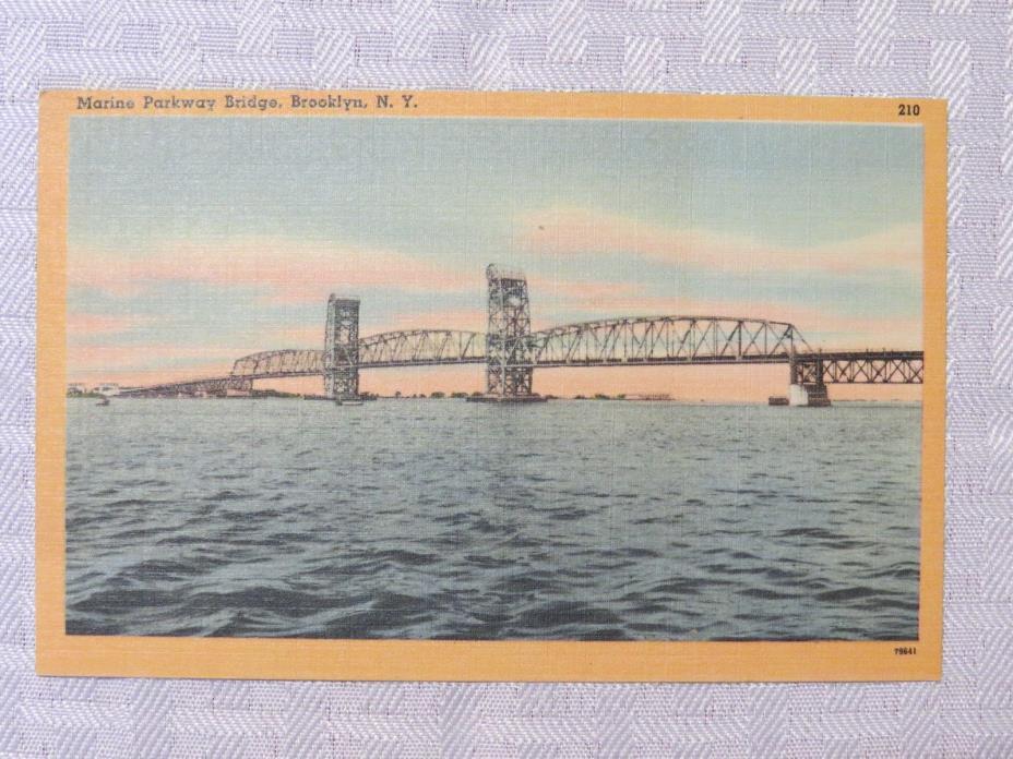 ST74 - Brooklyn New York City NY postcard - Marine Parkway Bridge 1940s