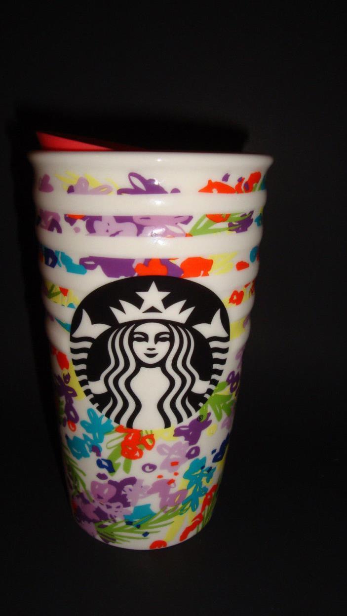 Starbucks Spring 2017 Floral Ceramic Travelers Mug Tumbler 10 Oz