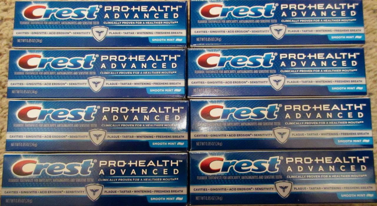 Crest Pro Health Advanced Toothpaste Smooth Mint Travel Size Lot 0.85 oz x 8