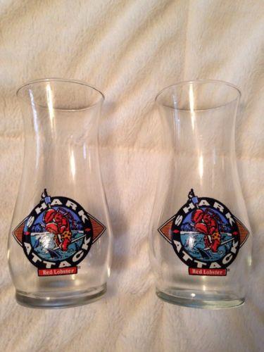 Pair of Original Vintage Glass Red Lobster Hurricane Glasses