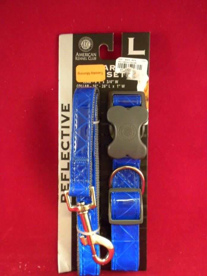 Reflective Pet Dog Collar & Lead Leash Set AKC Large Blue NEW