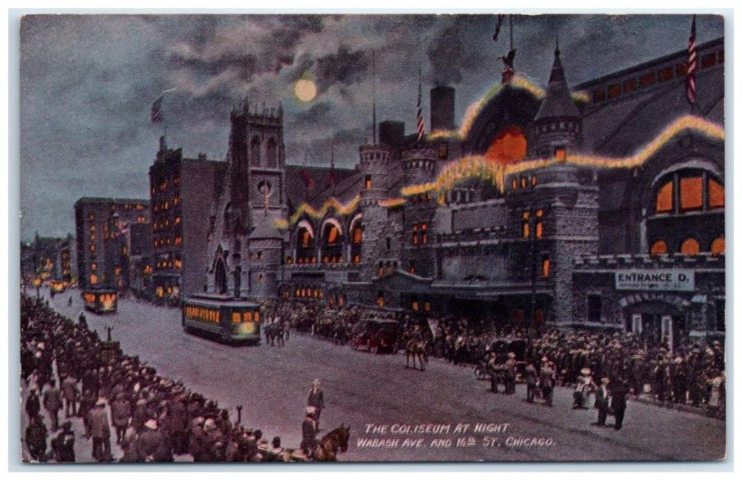 Early 1900s The Coliseum at Night, Wabash Ave. & 16th St., Chicago, IL Postcard