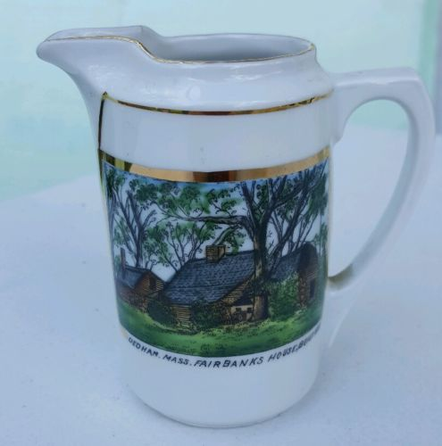 VINTAGE SOUVENIR CHINA CREAMER FAIRBANKS HOUSE, MASS. MADE IN GERMANY