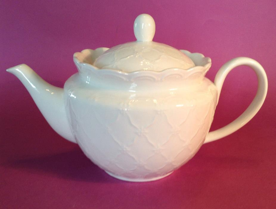 Graces TeaWare Large Tea Pot -  White Porcelain With Embossed Pattern
