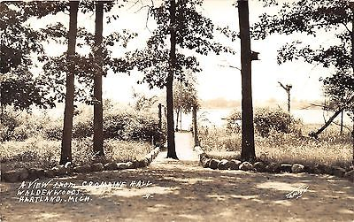 Hartland Michigan~Waldenwoods~View from Cromaine Hall~1930s Tamlun RPPC Postcard