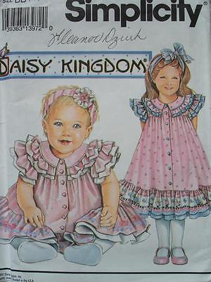 SIMPLICITY 8385 GIRLS DAISY KINGDOM FRONT BUTTON RUFFLED DRESS PATTERN SZ 4-6X