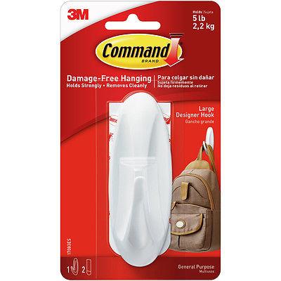 Command Large Designer Hook 1/Pkg-1 White Hook & 2 Strips