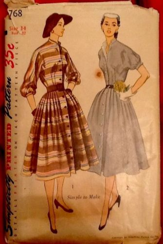 Vintage 1940's Simplicity Sewing Pattern Dress w Detachable Collar sz 14