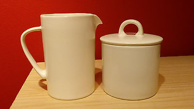 MIKASA New Set of Stone Glaze White Creamer & Sugar Bowl with Lid