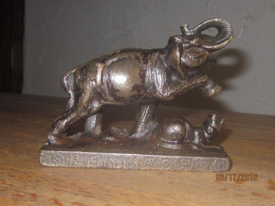 Rare Antique Cast Iron Elephant Doorstop Fighting Tiger Ornate