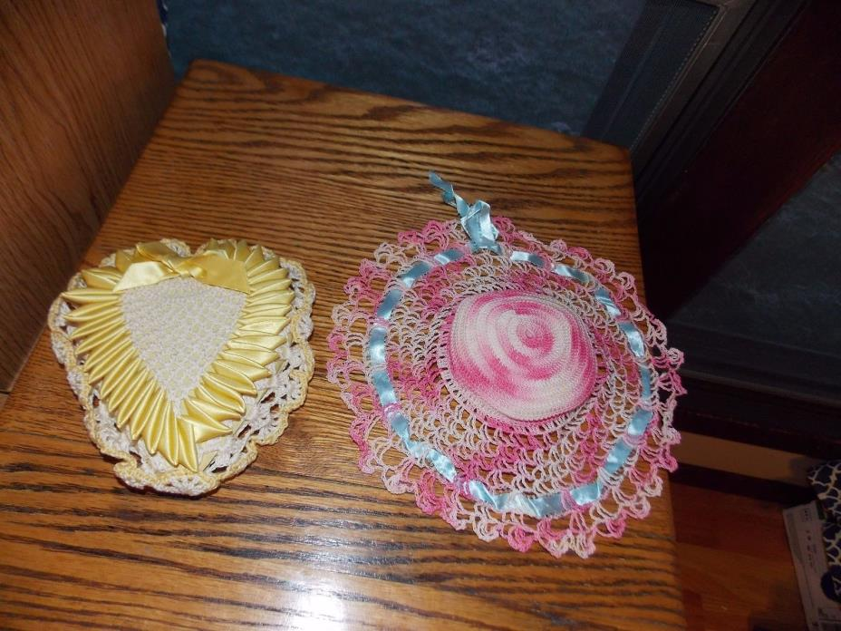 Crochet Pin Cushions Handmade Vintage Heart + Hat
