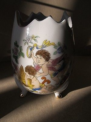 Footed, Decorated, Open Egg Shape Vanity Bowl (Cherubs)