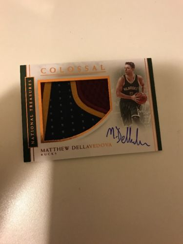 2016-17 National Treasures Matthew Dellavedova Colossal 3 Color Patch Auto 19/25