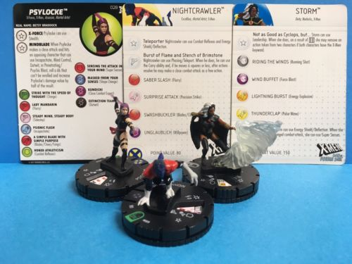 Heroclix Marvel Days of Future Past Nightcrawler 009 Rare Storm 021 Psylocke 028