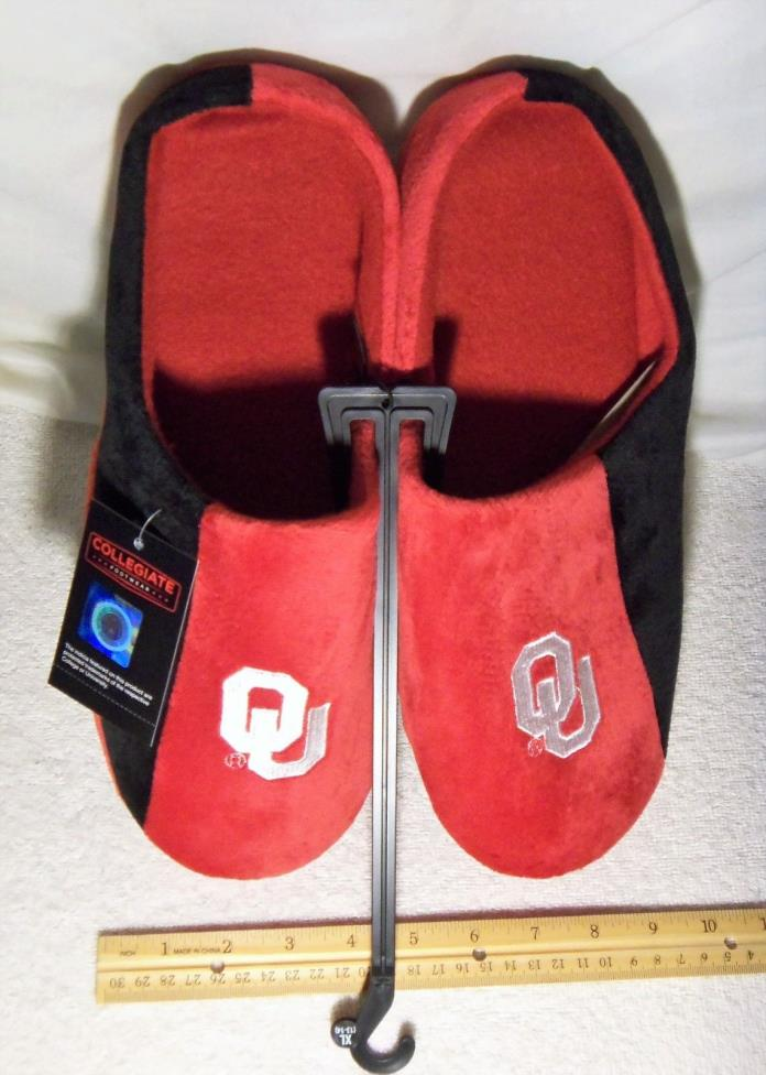 NEW Red and Black OU Sooners Slippers MENS Size XL 13/14 University of Oklahoma
